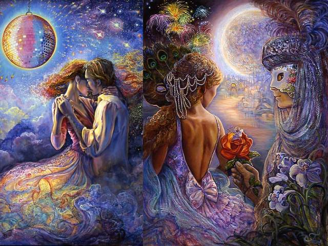Love is in the Air and Masque of Love by Josephine Wall - 'Love is in the Air' and ' Masque of Love' are two amazing and fantastic paintings by the English artist Josephine Wall, which fascinated with the feeling of a magical dream, where the air is filled with love and scent of flowers. <br /> The two lovers are dancing in the moonlight in a world of their own of  joy and warmth, where the reality and illusion are mixed.<br /> Having danced the night away, the partners take down shyly their masks, to reveal their faces and the feelings for each other. - , love, air, masque, masques, love, Josephine, Wall, art, arts, amazing, fantastic, paintings, painting, English, artist, artists, feeling, feelings, magical, dream, dreams, love, scent, flowers, flower, lovers, lover, moonlight, world, worlds, joy, warmth, reality, realities, illusion, illusions, night, nights, partners, partner, shyly, masks, mask, faces, face, feelings, feeling - 'Love is in the Air' and ' Masque of Love' are two amazing and fantastic paintings by the English artist Josephine Wall, which fascinated with the feeling of a magical dream, where the air is filled with love and scent of flowers. <br /> The two lovers are dancing in the moonlight in a world of their own of  joy and warmth, where the reality and illusion are mixed.<br /> Having danced the night away, the partners take down shyly their masks, to reveal their faces and the feelings for each other. Solve free online Love is in the Air and Masque of Love by Josephine Wall puzzle games or send Love is in the Air and Masque of Love by Josephine Wall puzzle game greeting ecards  from puzzles-games.eu.. Love is in the Air and Masque of Love by Josephine Wall puzzle, puzzles, puzzles games, puzzles-games.eu, puzzle games, online puzzle games, free puzzle games, free online puzzle games, Love is in the Air and Masque of Love by Josephine Wall free puzzle game, Love is in the Air and Masque of Love by Josephine Wall online puzzle game, jigsaw puzzles, Love is in the Air and Masque of Love by Josephine Wall jigsaw puzzle, jigsaw puzzle games, jigsaw puzzles games, Love is in the Air and Masque of Love by Josephine Wall puzzle game ecard, puzzles games ecards, Love is in the Air and Masque of Love by Josephine Wall puzzle game greeting ecard