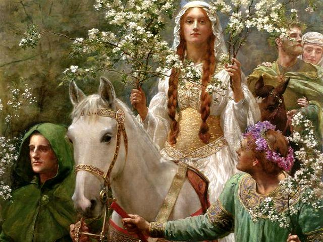 Maying of Queen Guinevere by John Collier - The painting 'Maying of Queen Guinevere' is a beautiful scene from the legends about queen Guinevere (oil on canvas, Neoclassical, circa 1900, Cartwright Hall Art Gallery, Bradford, England), painted by one of the leading English artists John Collier (1850-1934) and a prominent portrait painter of his generation in the Pre-Raphaelite style. <br /> Queen Guinevere is depicted regal, in a white gown with a golden girdle, riding a white horse through the woods in the spring. She is an object of wonder, outshining the blossoms in her hands. She is accompanied by two servants leading her horse and an another man, carrying a maidservant behind him. <br /> According to the Arthurian legend, Guinevere was the Queen consort of King Arthur. In medieval romances, one of the most famous stories was her love affair with  Sir Lancelot, a chief knight of king Arthur. - , Maying, Queen, Guinevere, John, Collier, art, arts, painting, paintings, beautiful, scene, scenes, legends, legend, queens, oil, canvas, Neoclassical, 1900, Cartwright, Hall, Gallery, Bradford, England, English, artists, artist, 1850, 1934, prominent, portrait, painter, painters, generation, Pre-Raphaelite, style, styles, regal, white, gown, golden, girdle, horse, woods, wood, spring, object, wonder, blossoms, hands, hand, servants, servant, maidservant, Arthurian, legend, legends, consort, King, Arthur, medieval, romances, stories, story, love, affair, Sir, Lancelot, chief, knight - The painting 'Maying of Queen Guinevere' is a beautiful scene from the legends about queen Guinevere (oil on canvas, Neoclassical, circa 1900, Cartwright Hall Art Gallery, Bradford, England), painted by one of the leading English artists John Collier (1850-1934) and a prominent portrait painter of his generation in the Pre-Raphaelite style. <br /> Queen Guinevere is depicted regal, in a white gown with a golden girdle, riding a white horse through the woods in the spring. She is an object of wonder, outshining the blossoms in her hands. She is accompanied by two servants leading her horse and an another man, carrying a maidservant behind him. <br /> According to the Arthurian legend, Guinevere was the Queen consort of King Arthur. In medieval romances, one of the most famous stories was her love affair with  Sir Lancelot, a chief knight of king Arthur. Solve free online Maying of Queen Guinevere by John Collier puzzle games or send Maying of Queen Guinevere by John Collier puzzle game greeting ecards  from puzzles-games.eu.. Maying of Queen Guinevere by John Collier puzzle, puzzles, puzzles games, puzzles-games.eu, puzzle games, online puzzle games, free puzzle games, free online puzzle games, Maying of Queen Guinevere by John Collier free puzzle game, Maying of Queen Guinevere by John Collier online puzzle game, jigsaw puzzles, Maying of Queen Guinevere by John Collier jigsaw puzzle, jigsaw puzzle games, jigsaw puzzles games, Maying of Queen Guinevere by John Collier puzzle game ecard, puzzles games ecards, Maying of Queen Guinevere by John Collier puzzle game greeting ecard