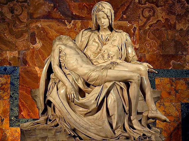 Michelangelo Pieta in Basilica Saint Peter Vatican Italy - 'Pieta' (1498-1499), sculpture's masterpiece from the Renaissance, by the renowned Italian artist Michelangelo Buonarroti,  in St. Peter's Basilica in Vatican, Italy, which depicts the body of Jesus on the lap of his mother Mary after the Crucifixion. - , Michelangelo, Pieta, basilica, basilicas, Saint, Peter, Vatican, Italy, art, arts, artist, artist, painter, painters, sculptor, sculptors, architect, architects, poet, poets, engineer, engineers, places, place, holidays, holiday, travel, travels, tour, tours, trips, trip, excursion, excursions, sculpture, sculptures, masterpiece, masterpieces, Renaissance, renowned, Italian, Buonarroti, body, bodies, Jesus, lap, laps, mother, mothers, Mary, Crucifixion - 'Pieta' (1498-1499), sculpture's masterpiece from the Renaissance, by the renowned Italian artist Michelangelo Buonarroti,  in St. Peter's Basilica in Vatican, Italy, which depicts the body of Jesus on the lap of his mother Mary after the Crucifixion. Solve free online Michelangelo Pieta in Basilica Saint Peter Vatican Italy puzzle games or send Michelangelo Pieta in Basilica Saint Peter Vatican Italy puzzle game greeting ecards  from puzzles-games.eu.. Michelangelo Pieta in Basilica Saint Peter Vatican Italy puzzle, puzzles, puzzles games, puzzles-games.eu, puzzle games, online puzzle games, free puzzle games, free online puzzle games, Michelangelo Pieta in Basilica Saint Peter Vatican Italy free puzzle game, Michelangelo Pieta in Basilica Saint Peter Vatican Italy online puzzle game, jigsaw puzzles, Michelangelo Pieta in Basilica Saint Peter Vatican Italy jigsaw puzzle, jigsaw puzzle games, jigsaw puzzles games, Michelangelo Pieta in Basilica Saint Peter Vatican Italy puzzle game ecard, puzzles games ecards, Michelangelo Pieta in Basilica Saint Peter Vatican Italy puzzle game greeting ecard