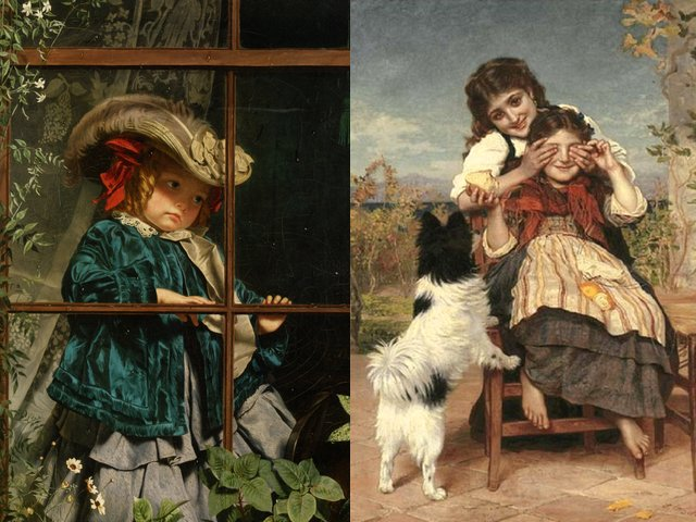 No Walk Today and Guess Again by Sophie Anderson - 'No walk today' and 'Guess again' (oil on canvas, private collection), two  beautiful paintings by  Sophie Gengembre Anderson (1823-1903), a French-born British artist, landscape painter and illustrator, known for her wonderful realistic paintings of Victorian children. 'No walk today', painted presumably in the late 1850-s, depicts the disappointment of a little girl dressed up for a walk which has been cancelled because of rain. The painting is most famous and beloved work of art by Sophie Anderson which presents childhood, one the paintings in the collection of Sir David, purchased only for 14 guineas on an auction in London in 1926 and sold at Sotheby's auction in 2008 for the record ?1,038,050. - , walk, today, guess, again, Sophie, Anderson, art, arts, oil, canvas, private, collection, collections, beautiful, paintings, painting, Gengembre, 1823, 1903, French, British, artist, artists, landscape, landscapes, painter, painters, illustrator, illustrators, wonderful, realistic, Victorian, children, child, 1850-s, disappointment, little, girl, girls, rain, famous, beloved, work, works, childhood, collection, collections, Sir, David, guineas, auction, auctions, London, 1926, Sotheby, 2008, record, ?1, 038, 050 - 'No walk today' and 'Guess again' (oil on canvas, private collection), two  beautiful paintings by  Sophie Gengembre Anderson (1823-1903), a French-born British artist, landscape painter and illustrator, known for her wonderful realistic paintings of Victorian children. 'No walk today', painted presumably in the late 1850-s, depicts the disappointment of a little girl dressed up for a walk which has been cancelled because of rain. The painting is most famous and beloved work of art by Sophie Anderson which presents childhood, one the paintings in the collection of Sir David, purchased only for 14 guineas on an auction in London in 1926 and sold at Sotheby's auction in 2008 for the record ?1,038,050. Solve free online No Walk Today and Guess Again by Sophie Anderson puzzle games or send No Walk Today and Guess Again by Sophie Anderson puzzle game greeting ecards  from puzzles-games.eu.. No Walk Today and Guess Again by Sophie Anderson puzzle, puzzles, puzzles games, puzzles-games.eu, puzzle games, online puzzle games, free puzzle games, free online puzzle games, No Walk Today and Guess Again by Sophie Anderson free puzzle game, No Walk Today and Guess Again by Sophie Anderson online puzzle game, jigsaw puzzles, No Walk Today and Guess Again by Sophie Anderson jigsaw puzzle, jigsaw puzzle games, jigsaw puzzles games, No Walk Today and Guess Again by Sophie Anderson puzzle game ecard, puzzles games ecards, No Walk Today and Guess Again by Sophie Anderson puzzle game greeting ecard