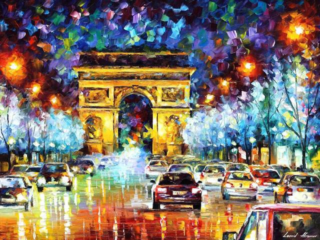 Paris Flight by Leonid Afremov - 'Paris Flight' is a beautiful painting (oil on canvas with palette knife) by the Russian-Israeli artist Leonid Afremov (1955-2019) depicting the Arc of Triumph in Paris. The impressive monument is seen from the Avenue des Champs-Elysees.<br /> The painting depicts Paris as it is, a bustling city, full of energy and pulsing life. - , Paris, flight, flights, Leonid, Afremov, art, arts, places, place, beautiful, painting, paintings, oil, canvas, palette, knife, Russian, Israeli, artist, artists, Arc, Triumph, Paris, impressive, monument, monuments, Avenue, Champs, Elysees, bustling, city, cities, energy, life - 'Paris Flight' is a beautiful painting (oil on canvas with palette knife) by the Russian-Israeli artist Leonid Afremov (1955-2019) depicting the Arc of Triumph in Paris. The impressive monument is seen from the Avenue des Champs-Elysees.<br /> The painting depicts Paris as it is, a bustling city, full of energy and pulsing life. Solve free online Paris Flight by Leonid Afremov puzzle games or send Paris Flight by Leonid Afremov puzzle game greeting ecards  from puzzles-games.eu.. Paris Flight by Leonid Afremov puzzle, puzzles, puzzles games, puzzles-games.eu, puzzle games, online puzzle games, free puzzle games, free online puzzle games, Paris Flight by Leonid Afremov free puzzle game, Paris Flight by Leonid Afremov online puzzle game, jigsaw puzzles, Paris Flight by Leonid Afremov jigsaw puzzle, jigsaw puzzle games, jigsaw puzzles games, Paris Flight by Leonid Afremov puzzle game ecard, puzzles games ecards, Paris Flight by Leonid Afremov puzzle game greeting ecard