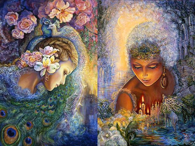Peacock Daze and Dandelion Diva by Josephine Wall - 'Peacock Daze' by the English fantasy painter Josephine Wall, depicts a beautiful girl sunk in a doze, who under the influence of scent of fragrant roses in the garden is transported into a world of dreams and fleeting moments of joy, among gorgeous peacocks and exotic flowers.<br /> In 'Dandelion Diva', Josephine Wall depicts the pre-Christian deity Hecate, an oracle goddess (Goddess of darkness). The dandelion is a weed, used for increasing psychic ability and intuition and is associated with the prediction and prophecy, the underworld and necromancy, for communication with world of the dead or summoning of the spirits.<br /> On the other hand, with its fluffy seeds as little fairies that may carry wishes, easily carried away by the winds or just with the faintest of breezes, the dandelion has spread across the world, as symbol of positivity, progress and survival, faithfulness, happiness and desire.<br /> According to legend, if you can blow all the seeds of dandelion simultaneously, you are loved with passionate love. - , peacock, peacocks, daze, dandelion, dandelions, diva, Josephine, Wall, art, arts, English, fantasy, painter, painters, beautiful, girl, girls, doze, influence, scent, fragrant, roses, rose, garden, world, dreams, dream, fleeting, moments, moment, joy, gorgeous, exotic, flowers, flower, pre-Christian, deity, Hecate, oracle, goddess, goddesses, darkness, weed, weeds, psychic, ability, intuition, prediction, prophecy, underworld, necromancy, communication, dead, summoning, spirits, spirit, fluffy, seeds, seed, fairies, fairy, wishes, wish, winds, wind, faintest, breezes, breeze, symbol, positivity, progress, survival, faithfulness, happiness, desire, legend, simultaneously, passionate, love - 'Peacock Daze' by the English fantasy painter Josephine Wall, depicts a beautiful girl sunk in a doze, who under the influence of scent of fragrant roses in the garden is transported into a world of dreams and fleeting moments of joy, among gorgeous peacocks and exotic flowers.<br /> In 'Dandelion Diva', Josephine Wall depicts the pre-Christian deity Hecate, an oracle goddess (Goddess of darkness). The dandelion is a weed, used for increasing psychic ability and intuition and is associated with the prediction and prophecy, the underworld and necromancy, for communication with world of the dead or summoning of the spirits.<br /> On the other hand, with its fluffy seeds as little fairies that may carry wishes, easily carried away by the winds or just with the faintest of breezes, the dandelion has spread across the world, as symbol of positivity, progress and survival, faithfulness, happiness and desire.<br /> According to legend, if you can blow all the seeds of dandelion simultaneously, you are loved with passionate love. Solve free online Peacock Daze and Dandelion Diva by Josephine Wall puzzle games or send Peacock Daze and Dandelion Diva by Josephine Wall puzzle game greeting ecards  from puzzles-games.eu.. Peacock Daze and Dandelion Diva by Josephine Wall puzzle, puzzles, puzzles games, puzzles-games.eu, puzzle games, online puzzle games, free puzzle games, free online puzzle games, Peacock Daze and Dandelion Diva by Josephine Wall free puzzle game, Peacock Daze and Dandelion Diva by Josephine Wall online puzzle game, jigsaw puzzles, Peacock Daze and Dandelion Diva by Josephine Wall jigsaw puzzle, jigsaw puzzle games, jigsaw puzzles games, Peacock Daze and Dandelion Diva by Josephine Wall puzzle game ecard, puzzles games ecards, Peacock Daze and Dandelion Diva by Josephine Wall puzzle game greeting ecard