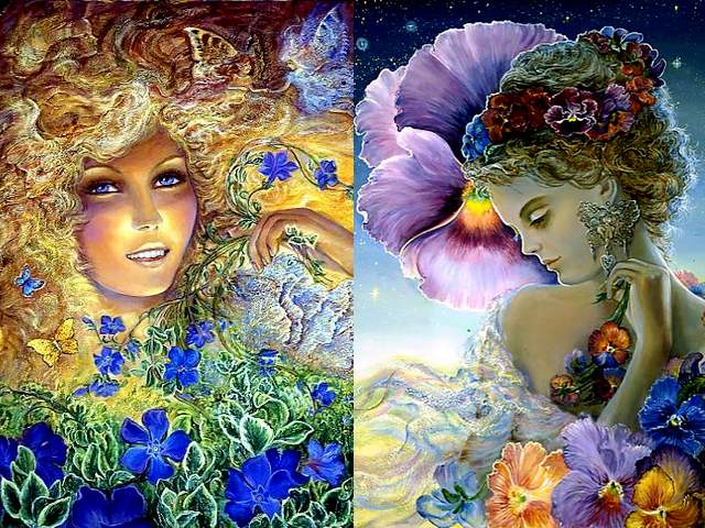 Periwinkle and Pansy by Josephine Wall - In the magnificent artworks by the famous English artist Josephine Wall, flowers have special role and are associated with goddesses, as an expression of theirs divine souls. According the Victorian Language of Flowers, each flower was used to express thoughts and symbols, associated with abstract concepts such as dignity, loyalty and human relationship. <br /> Periwinkle (Vinca major) is an evergreen plant with tiny, blue blossoms in shape of star and emerald leaves, which blooms periodically in cascading shapes from early spring till first frost. It is equated with pleasant memories and friendship. Usually, given in bouquet before a journey, is an expression of hope that everyone will remember fondly about the good times.<br /> Pansy (Viola tricolor) with its bright, sunny and sweet blossoms, is a symbol of thoughtfulness and love, togetherness and union. The beautiful pansies are perfect flowers when we want to retain fond memories about loved ones, who have left this world. - , periwinkle, pansy, pansies, Josephine, Wall, art, arts, magnificent, artworks, famous, English, artist, artists, flowers, flower, special, role, goddesses, goddess, expression, divine, souls, soul, Victorian, language, languages, thoughts, thought, symbols, symbol, abstract, concepts, concept, dignity, loyalty, human, relationship, Vinca, major, evergreen, plant, tiny, blue, blossoms, blossom, shape, star, stars, emerald, leaves, leaf, cascading, early, spring, first, frost, pleasant, memories, memory, friendship, bouquet, bouquets, journey, expression, hope, fondly, good, times, Viola, tricolor, bright, sunny, sweet, thoughtfulness, love, togetherness, union, beautiful, perfect, fond, world - In the magnificent artworks by the famous English artist Josephine Wall, flowers have special role and are associated with goddesses, as an expression of theirs divine souls. According the Victorian Language of Flowers, each flower was used to express thoughts and symbols, associated with abstract concepts such as dignity, loyalty and human relationship. <br /> Periwinkle (Vinca major) is an evergreen plant with tiny, blue blossoms in shape of star and emerald leaves, which blooms periodically in cascading shapes from early spring till first frost. It is equated with pleasant memories and friendship. Usually, given in bouquet before a journey, is an expression of hope that everyone will remember fondly about the good times.<br /> Pansy (Viola tricolor) with its bright, sunny and sweet blossoms, is a symbol of thoughtfulness and love, togetherness and union. The beautiful pansies are perfect flowers when we want to retain fond memories about loved ones, who have left this world. Solve free online Periwinkle and Pansy by Josephine Wall puzzle games or send Periwinkle and Pansy by Josephine Wall puzzle game greeting ecards  from puzzles-games.eu.. Periwinkle and Pansy by Josephine Wall puzzle, puzzles, puzzles games, puzzles-games.eu, puzzle games, online puzzle games, free puzzle games, free online puzzle games, Periwinkle and Pansy by Josephine Wall free puzzle game, Periwinkle and Pansy by Josephine Wall online puzzle game, jigsaw puzzles, Periwinkle and Pansy by Josephine Wall jigsaw puzzle, jigsaw puzzle games, jigsaw puzzles games, Periwinkle and Pansy by Josephine Wall puzzle game ecard, puzzles games ecards, Periwinkle and Pansy by Josephine Wall puzzle game greeting ecard