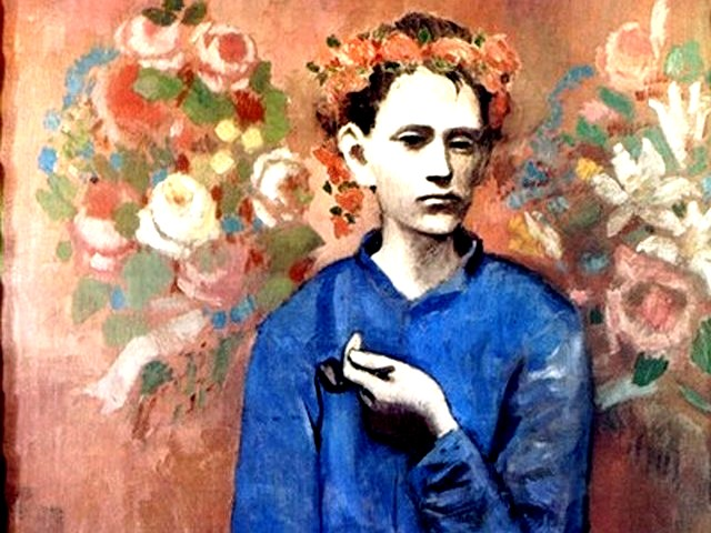 Picasso Boy with Pipe - A fragment from the painting 'Boy with Pipe' made by Picasso in 1905. This painting of a boy visited Picasso in the Montmartre studio with a pipe and garland of flowers was sold for 104,2 million dollars (2004). The 'Boy with Pipe' is Picasso's most expensive canvas in the world from the 'Rose Period'. - , Picasso, Boy, boys, Pipe, pipes, art, arts, fragment, fragments, painting, paintings, 1905, Montmartre, studio, studios, garland, garlands, flowers, flower, million, dollars, dollar, 2004, canvas, world, Rose, Period - A fragment from the painting 'Boy with Pipe' made by Picasso in 1905. This painting of a boy visited Picasso in the Montmartre studio with a pipe and garland of flowers was sold for 104,2 million dollars (2004). The 'Boy with Pipe' is Picasso's most expensive canvas in the world from the 'Rose Period'. Solve free online Picasso Boy with Pipe puzzle games or send Picasso Boy with Pipe puzzle game greeting ecards  from puzzles-games.eu.. Picasso Boy with Pipe puzzle, puzzles, puzzles games, puzzles-games.eu, puzzle games, online puzzle games, free puzzle games, free online puzzle games, Picasso Boy with Pipe free puzzle game, Picasso Boy with Pipe online puzzle game, jigsaw puzzles, Picasso Boy with Pipe jigsaw puzzle, jigsaw puzzle games, jigsaw puzzles games, Picasso Boy with Pipe puzzle game ecard, puzzles games ecards, Picasso Boy with Pipe puzzle game greeting ecard