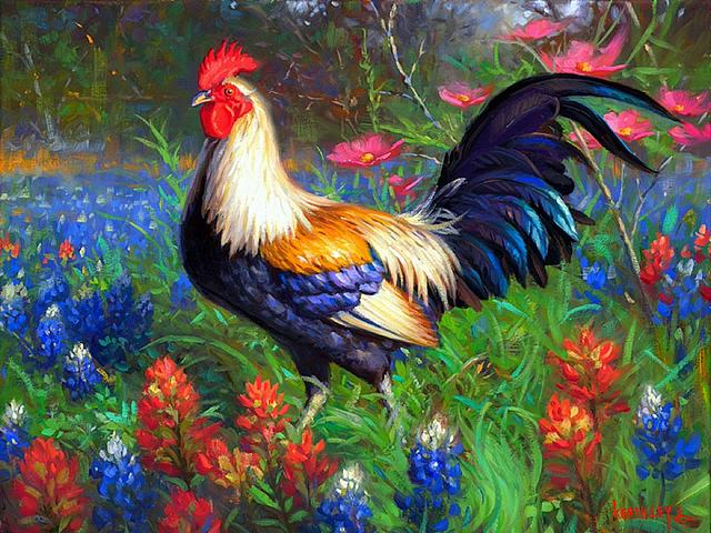Rooster in Flower Field by Mark Keathley - 'Rooster in flower field' is a colorful oil painting by Mark Keathley (born 1963 and grown up on the family farm in East Texas), whose fine art hang in many homes around the world. He is able to capture the perfect moment in time and recreates the beautiful things with masterful combination of light, water, colors and fine details, which give you the feeling that you are a part of the landscape. - , rooster, roosters, flower, flowers, field, fields, Mark, Keathley, art, arts, animals, animal, colorful, oil, painting, paintings, 1963, family, farm, farms, East, Texas, fine, homes, home, world, perfect, moment, moments, time, times, beautiful, masterful, combination, light, water, colors, fine, details, detail, feeling, feelings, part, parts, landscape, landscapes - 'Rooster in flower field' is a colorful oil painting by Mark Keathley (born 1963 and grown up on the family farm in East Texas), whose fine art hang in many homes around the world. He is able to capture the perfect moment in time and recreates the beautiful things with masterful combination of light, water, colors and fine details, which give you the feeling that you are a part of the landscape. Solve free online Rooster in Flower Field by Mark Keathley puzzle games or send Rooster in Flower Field by Mark Keathley puzzle game greeting ecards  from puzzles-games.eu.. Rooster in Flower Field by Mark Keathley puzzle, puzzles, puzzles games, puzzles-games.eu, puzzle games, online puzzle games, free puzzle games, free online puzzle games, Rooster in Flower Field by Mark Keathley free puzzle game, Rooster in Flower Field by Mark Keathley online puzzle game, jigsaw puzzles, Rooster in Flower Field by Mark Keathley jigsaw puzzle, jigsaw puzzle games, jigsaw puzzles games, Rooster in Flower Field by Mark Keathley puzzle game ecard, puzzles games ecards, Rooster in Flower Field by Mark Keathley puzzle game greeting ecard