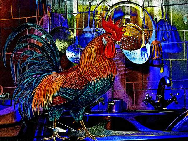 Rooster in the Kitchen by Vadim Basov - 'Rooster in the Kitchen' (2015) is a lovely painting on canvas in expressionism genre by Vadim Basov, born on January, 20, 1942, who lives in Saratov, Russia. In education Vadim Basov is an electrician, but a professional with creative vision and a wealth of experience in many spheres of human activity as psychologist, writer, restaurant musician, photographer, a scientist yogi, traveler. Vadim Basov shows interest in fine art when he was 70 years old, and as an artist he recently becomes famous with more than 100 works. Computer technologies allow him to experiment on color compositions without raising the cost with canvas and paints, but preserving pleasant perception for handmade. - , rooster, roosters, kitchen, kitchens, Vadim, Basov, art, arts, 2015, lovely, painting, paintings, canvas, expressionism, genre, January, 1942, Saratov, Russia, education, electrician, professional, creative, vision, experience, spheres, human, activity, psychologist, writer, restaurant, musician, photographer, scientist, yogi, traveler, interest, artist, artists, famous, works, work, computer, technologies, technology, color, compositions, composition, cost, canvas, paints, paint, pleasant, perception, handmade - 'Rooster in the Kitchen' (2015) is a lovely painting on canvas in expressionism genre by Vadim Basov, born on January, 20, 1942, who lives in Saratov, Russia. In education Vadim Basov is an electrician, but a professional with creative vision and a wealth of experience in many spheres of human activity as psychologist, writer, restaurant musician, photographer, a scientist yogi, traveler. Vadim Basov shows interest in fine art when he was 70 years old, and as an artist he recently becomes famous with more than 100 works. Computer technologies allow him to experiment on color compositions without raising the cost with canvas and paints, but preserving pleasant perception for handmade. Solve free online Rooster in the Kitchen by Vadim Basov puzzle games or send Rooster in the Kitchen by Vadim Basov puzzle game greeting ecards  from puzzles-games.eu.. Rooster in the Kitchen by Vadim Basov puzzle, puzzles, puzzles games, puzzles-games.eu, puzzle games, online puzzle games, free puzzle games, free online puzzle games, Rooster in the Kitchen by Vadim Basov free puzzle game, Rooster in the Kitchen by Vadim Basov online puzzle game, jigsaw puzzles, Rooster in the Kitchen by Vadim Basov jigsaw puzzle, jigsaw puzzle games, jigsaw puzzles games, Rooster in the Kitchen by Vadim Basov puzzle game ecard, puzzles games ecards, Rooster in the Kitchen by Vadim Basov puzzle game greeting ecard