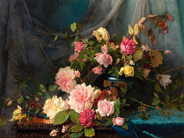 Roses by Sophie Anderson - Beautiful still-life with 'Roses' (oil on canvas, private collection), by  Sophie Gengembre Anderson (1823-1903), a French-born British artist, landscape painter and illustrator. Sophie Anderson was an artist loosely associated to the Pre-Raphaelite Brotherhood, portraying the things with near-photographic precision, abundant detail, intense colours, and complex compositions. - , roses, rose, Sophie, Anderson, art, arts, flowers, flower, beautiful, still-life, oil, canvas, private, collection, collections, Gengembre, 1823, 1903, French, British, artist, artists, landscape, painter, painters, illustrator, loosely, associated, Pre-Raphaelite, brotherhood, brotherhoods, photographic, precision, abundant, detail, details, intense, colours, colour, complex, compositions, composition - Beautiful still-life with 'Roses' (oil on canvas, private collection), by  Sophie Gengembre Anderson (1823-1903), a French-born British artist, landscape painter and illustrator. Sophie Anderson was an artist loosely associated to the Pre-Raphaelite Brotherhood, portraying the things with near-photographic precision, abundant detail, intense colours, and complex compositions. Solve free online Roses by Sophie Anderson puzzle games or send Roses by Sophie Anderson puzzle game greeting ecards  from puzzles-games.eu.. Roses by Sophie Anderson puzzle, puzzles, puzzles games, puzzles-games.eu, puzzle games, online puzzle games, free puzzle games, free online puzzle games, Roses by Sophie Anderson free puzzle game, Roses by Sophie Anderson online puzzle game, jigsaw puzzles, Roses by Sophie Anderson jigsaw puzzle, jigsaw puzzle games, jigsaw puzzles games, Roses by Sophie Anderson puzzle game ecard, puzzles games ecards, Roses by Sophie Anderson puzzle game greeting ecard