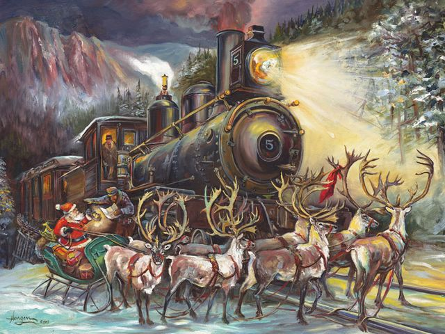 Santa Asking for Directions Polar Express by Nona Hengen - Beautiful artwork depicting an entertaining Christmas story by Nona Hengen, featuring Santa Claus on a sleigh pulled by reindeers, asking the train-driver of Polar Express for direction of the next address for visiting in his list.<br /> Nona Lillian Hengen, is an American artist, writer, illustrator, born on March 28, 1934 in Spokane, Washington, District of Columbia, United States. - , Santa, directions, direction, Polar, Express, Nona, Hengen, art, arts, holidays, holiday, beautiful, artwork, artworks, entertaining, Christmas, story, stories, Claus, sleigh, sleighs, reindeers, reindeer, train, trains, driver, drivers, address, addresses, list, lists, American, artist, artists, writer, writers, illustrators, illustrator, March, 1934, Spokane, Washington, District, Columbia, United, States - Beautiful artwork depicting an entertaining Christmas story by Nona Hengen, featuring Santa Claus on a sleigh pulled by reindeers, asking the train-driver of Polar Express for direction of the next address for visiting in his list.<br /> Nona Lillian Hengen, is an American artist, writer, illustrator, born on March 28, 1934 in Spokane, Washington, District of Columbia, United States. Solve free online Santa Asking for Directions Polar Express by Nona Hengen puzzle games or send Santa Asking for Directions Polar Express by Nona Hengen puzzle game greeting ecards  from puzzles-games.eu.. Santa Asking for Directions Polar Express by Nona Hengen puzzle, puzzles, puzzles games, puzzles-games.eu, puzzle games, online puzzle games, free puzzle games, free online puzzle games, Santa Asking for Directions Polar Express by Nona Hengen free puzzle game, Santa Asking for Directions Polar Express by Nona Hengen online puzzle game, jigsaw puzzles, Santa Asking for Directions Polar Express by Nona Hengen jigsaw puzzle, jigsaw puzzle games, jigsaw puzzles games, Santa Asking for Directions Polar Express by Nona Hengen puzzle game ecard, puzzles games ecards, Santa Asking for Directions Polar Express by Nona Hengen puzzle game greeting ecard