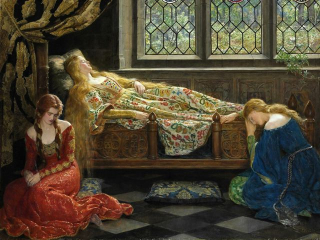 Sleeping Beauty by John Collier - 'Sleeping Beauty' (1921, oil on canvas, private collection), by John Collier (1850-1934), a British Pre-Raphaelite painter on historical and mythological themes and portraits of kings, noblemen, actors and socialites personalities. John Collier was a founding member of the Royal Society of Portrait Painters. <br /> This remarkable Pre-Raphaelite picture is an illustration of the famous fairy story of 'Sleeping Beauty' in the European literature, by Charles Perrault in the seventeenth century and later recast by the brothers Grimm in the nineteenth century. <br /> John Collier depicts the scene with the asleep princess inside the palace. Through the leaded windows, studded with stained-glass is seen the overgrown garden in which the prince must fight his way for to break the spell. - , Sleeping, Beauty, John, Collier, art, arts, 1921, oil, canvas, private, collection, collections, 1850, 1934, British, Pre-Raphaelite, painter, painters, historical, mythological, themes, theme, portraits, portrait, kings, king, noblemen, nobleman, actors, actor, socialites, personalities, personality, member, members, Royal, Society, remarkable, picture, pictures, illustration, illustrations, famous, fairy, story, stories, European, literature, Charles, Perrault, century, centuries, brothers, brother, Grimm - 'Sleeping Beauty' (1921, oil on canvas, private collection), by John Collier (1850-1934), a British Pre-Raphaelite painter on historical and mythological themes and portraits of kings, noblemen, actors and socialites personalities. John Collier was a founding member of the Royal Society of Portrait Painters. <br /> This remarkable Pre-Raphaelite picture is an illustration of the famous fairy story of 'Sleeping Beauty' in the European literature, by Charles Perrault in the seventeenth century and later recast by the brothers Grimm in the nineteenth century. <br /> John Collier depicts the scene with the asleep princess inside the palace. Through the leaded windows, studded with stained-glass is seen the overgrown garden in which the prince must fight his way for to break the spell. Solve free online Sleeping Beauty by John Collier puzzle games or send Sleeping Beauty by John Collier puzzle game greeting ecards  from puzzles-games.eu.. Sleeping Beauty by John Collier puzzle, puzzles, puzzles games, puzzles-games.eu, puzzle games, online puzzle games, free puzzle games, free online puzzle games, Sleeping Beauty by John Collier free puzzle game, Sleeping Beauty by John Collier online puzzle game, jigsaw puzzles, Sleeping Beauty by John Collier jigsaw puzzle, jigsaw puzzle games, jigsaw puzzles games, Sleeping Beauty by John Collier puzzle game ecard, puzzles games ecards, Sleeping Beauty by John Collier puzzle game greeting ecard