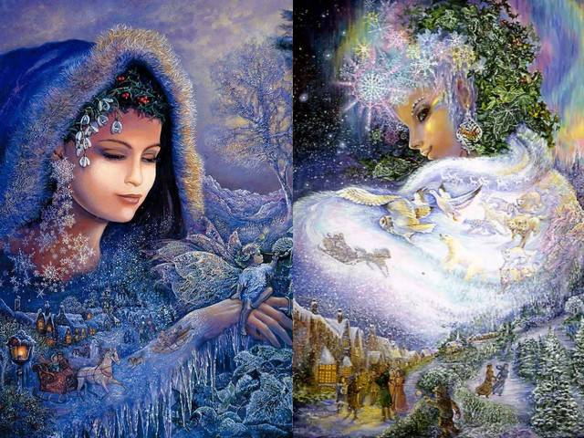 Spirit of Winter and Snow Queen by Josephine Wall - In the fantasy paintings, 'Spirit of Winter' and 'Snow Queen', by the famous English artist Josephine Wall, are depicted with charming details enchanting winter landscapes, inspired from the nature. The beautiful fairy and her assistant adorn trees and plants with winter garments and cover them with frost, thus creating a winter wonderland, where children carelessly play in the snow. The Snow Queen is represented in the glow of the Aurora Borealis, glancing over her shoulder at the magic of the winter season. When the cycle of nature completes, will come the spirit of Spring. - , spirit, spirits, winter, snow, queen, queens, Josephine, Wall, art, arts, fantasy, paintings, painting, famous, English, artist, artists, charming, details, detail, enchanting, winter, landscapes, landscape, nature, beautiful, fairy, assistant, assistants, trees, tree, plants, plant, garments, garment, frost, wonderland, children, child, carelessly, glow, Aurora, Borealis, shoulder, shoulders, magic, season, cycle, cycles, spring - In the fantasy paintings, 'Spirit of Winter' and 'Snow Queen', by the famous English artist Josephine Wall, are depicted with charming details enchanting winter landscapes, inspired from the nature. The beautiful fairy and her assistant adorn trees and plants with winter garments and cover them with frost, thus creating a winter wonderland, where children carelessly play in the snow. The Snow Queen is represented in the glow of the Aurora Borealis, glancing over her shoulder at the magic of the winter season. When the cycle of nature completes, will come the spirit of Spring. Solve free online Spirit of Winter and Snow Queen by Josephine Wall puzzle games or send Spirit of Winter and Snow Queen by Josephine Wall puzzle game greeting ecards  from puzzles-games.eu.. Spirit of Winter and Snow Queen by Josephine Wall puzzle, puzzles, puzzles games, puzzles-games.eu, puzzle games, online puzzle games, free puzzle games, free online puzzle games, Spirit of Winter and Snow Queen by Josephine Wall free puzzle game, Spirit of Winter and Snow Queen by Josephine Wall online puzzle game, jigsaw puzzles, Spirit of Winter and Snow Queen by Josephine Wall jigsaw puzzle, jigsaw puzzle games, jigsaw puzzles games, Spirit of Winter and Snow Queen by Josephine Wall puzzle game ecard, puzzles games ecards, Spirit of Winter and Snow Queen by Josephine Wall puzzle game greeting ecard