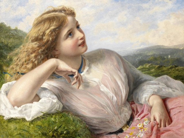 Spring Fascination The Song of the Lark by Sophie Anderson - The fascination of the spring, reflected in the face of a beautiful Victorian girl, who listens 'The Song of the Lark', an oil painting on canvas (private collection), nearly like a photographic image, by Sophie Anderson. Sophie Gengembre Anderson (1823-1903) was a British artist, landscape painter and illustrator, known with her lifelike pictures in Pre-Raphaelite style of painting. - , spring, fascination, song, lark, larks, Sophie, Anderson, art, arts, face, faces, beautiful, Victorian, gir, girls, oil, painting, paintings, canvas, private, collection, collections, photographic, image, images, Gengembre, 1823, 1903, British, artist, artists, landscape, painter, painters, illustrator, illustrators, lifelike, pictures, picture, Pre-Raphaelite, style, styles - The fascination of the spring, reflected in the face of a beautiful Victorian girl, who listens 'The Song of the Lark', an oil painting on canvas (private collection), nearly like a photographic image, by Sophie Anderson. Sophie Gengembre Anderson (1823-1903) was a British artist, landscape painter and illustrator, known with her lifelike pictures in Pre-Raphaelite style of painting. Решайте бесплатные онлайн Spring Fascination The Song of the Lark by Sophie Anderson пазлы игры или отправьте Spring Fascination The Song of the Lark by Sophie Anderson пазл игру приветственную открытку  из puzzles-games.eu.. Spring Fascination The Song of the Lark by Sophie Anderson пазл, пазлы, пазлы игры, puzzles-games.eu, пазл игры, онлайн пазл игры, игры пазлы бесплатно, бесплатно онлайн пазл игры, Spring Fascination The Song of the Lark by Sophie Anderson бесплатно пазл игра, Spring Fascination The Song of the Lark by Sophie Anderson онлайн пазл игра , jigsaw puzzles, Spring Fascination The Song of the Lark by Sophie Anderson jigsaw puzzle, jigsaw puzzle games, jigsaw puzzles games, Spring Fascination The Song of the Lark by Sophie Anderson пазл игра открытка, пазлы игры открытки, Spring Fascination The Song of the Lark by Sophie Anderson пазл игра приветственная открытка