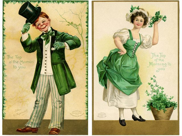 St. Patricks Day Irishman and Irish Lady Vintage Postcards by Ellen Clapsaddle - Beautiful vintage postcards, drawn by the artist Ellen Clapsaddle for St. Patrick's Day with a redhead Irishman in a long green coat, green top hat and matching gloves and a charming Irish lady dressed in green and white, who holds a bunch of shamrock in her hand. Ellen Hattie Clapsaddle (January 8, 1865 - January 7, 1934) was an American illustrator artist with an admirable style, expressed in her souvenirs and greeting cards. - , St., Saint, Patricks, Patrick, day, days, Irishman, Irish, lady, ladies, vintage, postcards, postcard, Ellen, Clapsaddle, art, arts, cartoon, cartoons, holiday, holidays, feast, feasts, beautiful, artist, artists, redhead, green, coat, coats, hat, hats, gloves, glove, charming, bunch, bunches, shamrock, hand, hands, Hattie, January, 1865, January, 1934, American, illustrator, illustrators, admirable, style, styles, souvenirs, souvenir, greeting, cards, card - Beautiful vintage postcards, drawn by the artist Ellen Clapsaddle for St. Patrick's Day with a redhead Irishman in a long green coat, green top hat and matching gloves and a charming Irish lady dressed in green and white, who holds a bunch of shamrock in her hand. Ellen Hattie Clapsaddle (January 8, 1865 - January 7, 1934) was an American illustrator artist with an admirable style, expressed in her souvenirs and greeting cards. Solve free online St. Patricks Day Irishman and Irish Lady Vintage Postcards by Ellen Clapsaddle puzzle games or send St. Patricks Day Irishman and Irish Lady Vintage Postcards by Ellen Clapsaddle puzzle game greeting ecards  from puzzles-games.eu.. St. Patricks Day Irishman and Irish Lady Vintage Postcards by Ellen Clapsaddle puzzle, puzzles, puzzles games, puzzles-games.eu, puzzle games, online puzzle games, free puzzle games, free online puzzle games, St. Patricks Day Irishman and Irish Lady Vintage Postcards by Ellen Clapsaddle free puzzle game, St. Patricks Day Irishman and Irish Lady Vintage Postcards by Ellen Clapsaddle online puzzle game, jigsaw puzzles, St. Patricks Day Irishman and Irish Lady Vintage Postcards by Ellen Clapsaddle jigsaw puzzle, jigsaw puzzle games, jigsaw puzzles games, St. Patricks Day Irishman and Irish Lady Vintage Postcards by Ellen Clapsaddle puzzle game ecard, puzzles games ecards, St. Patricks Day Irishman and Irish Lady Vintage Postcards by Ellen Clapsaddle puzzle game greeting ecard