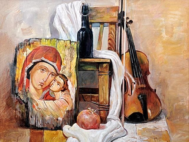 Still-Life with Icon and Violin by Vesko Radulov Bulgarian Fine Art - Still-life with an icon and violin, painting by the Bulgarian artist Vesko Radulov (oil on canvas, owner <a href='http://eva-art.eu'>Eva Art - Bulgarian Fine Arts</a>). - , still-life, icon, icons, violin, violins, Vesko, Radulov, Bulgarian, fine, art, arts, painting, paintings, artist, artists, oil, canvas, canvases, owner, owners, Eva, eva-art.eu - Still-life with an icon and violin, painting by the Bulgarian artist Vesko Radulov (oil on canvas, owner <a href='http://eva-art.eu'>Eva Art - Bulgarian Fine Arts</a>). Подреждайте безплатни онлайн Still-Life with Icon and Violin by Vesko Radulov Bulgarian Fine Art пъзел игри или изпратете Still-Life with Icon and Violin by Vesko Radulov Bulgarian Fine Art пъзел игра поздравителна картичка  от puzzles-games.eu.. Still-Life with Icon and Violin by Vesko Radulov Bulgarian Fine Art пъзел, пъзели, пъзели игри, puzzles-games.eu, пъзел игри, online пъзел игри, free пъзел игри, free online пъзел игри, Still-Life with Icon and Violin by Vesko Radulov Bulgarian Fine Art free пъзел игра, Still-Life with Icon and Violin by Vesko Radulov Bulgarian Fine Art online пъзел игра, jigsaw puzzles, Still-Life with Icon and Violin by Vesko Radulov Bulgarian Fine Art jigsaw puzzle, jigsaw puzzle games, jigsaw puzzles games, Still-Life with Icon and Violin by Vesko Radulov Bulgarian Fine Art пъзел игра картичка, пъзели игри картички, Still-Life with Icon and Violin by Vesko Radulov Bulgarian Fine Art пъзел игра поздравителна картичка