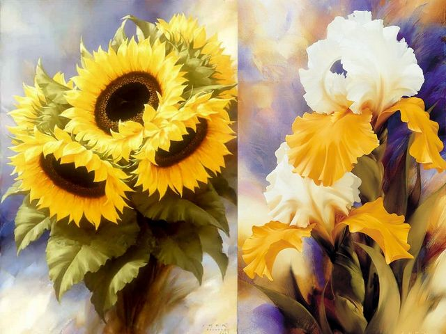 Sunflowers and Irises by Igor Levashov - Sunflowers and irises, artwork by Igor Levashov, an artist, born in Russia, with a passion for flowers, whose paintings attract the attention and are appreciated worldwide. - , sunflowers, sunflower, irises, iris, Igor, Levashov, art, arts, flower, flowers, artwork, artworks, artist, artists, Russia, passion, passions, paintings, painting, attention, attentions, worldwide - Sunflowers and irises, artwork by Igor Levashov, an artist, born in Russia, with a passion for flowers, whose paintings attract the attention and are appreciated worldwide. Solve free online Sunflowers and Irises by Igor Levashov puzzle games or send Sunflowers and Irises by Igor Levashov puzzle game greeting ecards  from puzzles-games.eu.. Sunflowers and Irises by Igor Levashov puzzle, puzzles, puzzles games, puzzles-games.eu, puzzle games, online puzzle games, free puzzle games, free online puzzle games, Sunflowers and Irises by Igor Levashov free puzzle game, Sunflowers and Irises by Igor Levashov online puzzle game, jigsaw puzzles, Sunflowers and Irises by Igor Levashov jigsaw puzzle, jigsaw puzzle games, jigsaw puzzles games, Sunflowers and Irises by Igor Levashov puzzle game ecard, puzzles games ecards, Sunflowers and Irises by Igor Levashov puzzle game greeting ecard