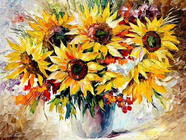 Sunflowers by Leonid Afremov - 'Sunflowers' is a stunning oil painting on canvas with palette knife, created by Leonid Afremov.<br /> The pastel shades of the background are in amazing harmony with the light brown sunflower heads, surrounded by bright yellow palette, with sun in every petal, behind which the juicy green leaves of the stems are hidden. - , sunflowers, sunflower, Leonid, Afremov, flowers, flower, stunning, oil, painting, paintings, canvas, palette, knife, pastel, shades, shade, background, backgrounds, amazing, harmony, brown, heads, head, sun, petal, petals, leaves, leaf, stems, stem - 'Sunflowers' is a stunning oil painting on canvas with palette knife, created by Leonid Afremov.<br /> The pastel shades of the background are in amazing harmony with the light brown sunflower heads, surrounded by bright yellow palette, with sun in every petal, behind which the juicy green leaves of the stems are hidden. Подреждайте безплатни онлайн Sunflowers by Leonid Afremov пъзел игри или изпратете Sunflowers by Leonid Afremov пъзел игра поздравителна картичка  от puzzles-games.eu.. Sunflowers by Leonid Afremov пъзел, пъзели, пъзели игри, puzzles-games.eu, пъзел игри, online пъзел игри, free пъзел игри, free online пъзел игри, Sunflowers by Leonid Afremov free пъзел игра, Sunflowers by Leonid Afremov online пъзел игра, jigsaw puzzles, Sunflowers by Leonid Afremov jigsaw puzzle, jigsaw puzzle games, jigsaw puzzles games, Sunflowers by Leonid Afremov пъзел игра картичка, пъзели игри картички, Sunflowers by Leonid Afremov пъзел игра поздравителна картичка