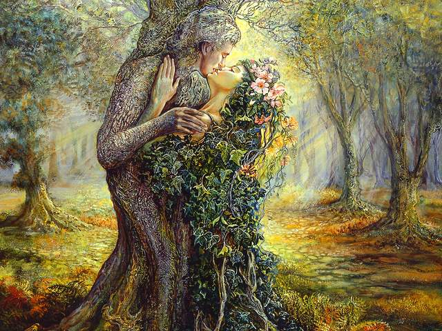 The Dryad and the Tree Spirit by Josephine Wall - 'The Dryad and the Tree Spirit' is a beautiful artwork by the English artist Josephine Wall, an enchanting picture of fantasy, inspired by hers love of nature and passion for surrealism.<br />