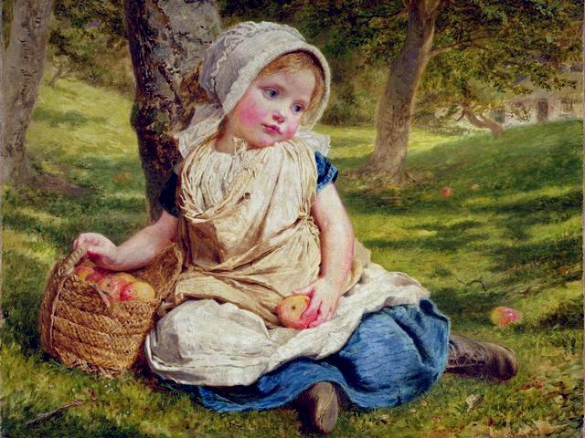 Windfalls by Sophie Anderson - Windfalls of apples and a charming little girl with rosy cheeks, (oil on canvas, private collection), beautiful painting by  Sophie Gengembre Anderson (1823-1903), a French-born British artist, landscape painter and illustrator, known with her wonderful lifelike paintings of children and theirs games, observed in her own home. The veneration and rediscovery of childhood in art during the Victorian era, satisfy the need for emotional continuity between art and life, and enables the people to cope with the joys and sorrows of the past and the present. - , windfalls, Sophie, Anderson, art, arts, apples, apple, charming, little, girl, girls, rosy, cheeks, cheek, oil, canvas, private, collection, collections, beautiful, painting, paintings, Gengembre, 1823, 1903, French, British, artist, artists, landscape, painter, painters, illustrator, illustrators, wonderful, lifelike, children, child, games, game, home, homes, veneration, rediscovery, childhood, Victorian, era, emotional, continuity, life, people, joys, joy, sorrows, sorrow, past, present - Windfalls of apples and a charming little girl with rosy cheeks, (oil on canvas, private collection), beautiful painting by  Sophie Gengembre Anderson (1823-1903), a French-born British artist, landscape painter and illustrator, known with her wonderful lifelike paintings of children and theirs games, observed in her own home. The veneration and rediscovery of childhood in art during the Victorian era, satisfy the need for emotional continuity between art and life, and enables the people to cope with the joys and sorrows of the past and the present. Solve free online Windfalls by Sophie Anderson puzzle games or send Windfalls by Sophie Anderson puzzle game greeting ecards  from puzzles-games.eu.. Windfalls by Sophie Anderson puzzle, puzzles, puzzles games, puzzles-games.eu, puzzle games, online puzzle games, free puzzle games, free online puzzle games, Windfalls by Sophie Anderson free puzzle game, Windfalls by Sophie Anderson online puzzle game, jigsaw puzzles, Windfalls by Sophie Anderson jigsaw puzzle, jigsaw puzzle games, jigsaw puzzles games, Windfalls by Sophie Anderson puzzle game ecard, puzzles games ecards, Windfalls by Sophie Anderson puzzle game greeting ecard