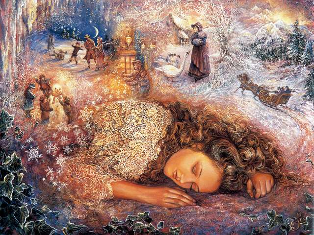 Winter Dreaming by Josephine Wall - 'Winter Dreaming' is a magnificent painting by the famous English artist Josephine Wall, where in the sleep of a beautiful girl are intertwined reality and illusion. The small detailed images, based on Victorian times, are reviving the magical world of the imagination and fantasy, depicting long forgotten enchanting scenes from the childhood. - , winter, dreaming, Josephine, Wall, art, arts, magnificent, painting, paintings, famous, English, artist, artists, sleep, beautiful, girl, girls, reality, illusion, images, image, Victorian, times, time, magical, world, imagination, fantasy, enchanting, scenes, scene, childhood - 'Winter Dreaming' is a magnificent painting by the famous English artist Josephine Wall, where in the sleep of a beautiful girl are intertwined reality and illusion. The small detailed images, based on Victorian times, are reviving the magical world of the imagination and fantasy, depicting long forgotten enchanting scenes from the childhood. Решайте бесплатные онлайн Winter Dreaming by Josephine Wall пазлы игры или отправьте Winter Dreaming by Josephine Wall пазл игру приветственную открытку  из puzzles-games.eu.. Winter Dreaming by Josephine Wall пазл, пазлы, пазлы игры, puzzles-games.eu, пазл игры, онлайн пазл игры, игры пазлы бесплатно, бесплатно онлайн пазл игры, Winter Dreaming by Josephine Wall бесплатно пазл игра, Winter Dreaming by Josephine Wall онлайн пазл игра , jigsaw puzzles, Winter Dreaming by Josephine Wall jigsaw puzzle, jigsaw puzzle games, jigsaw puzzles games, Winter Dreaming by Josephine Wall пазл игра открытка, пазлы игры открытки, Winter Dreaming by Josephine Wall пазл игра приветственная открытка