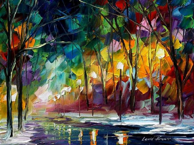 Winter Park by Leonid Afremov - In this fascinating painting 'Winter Park', Leonid Afremov depicts with his bright color palette the time at the border of seasons, where autumn and winter meet.<br /> There is still a lot of yellow foliages on the trees, illuminated with a delicate light, but on the sidewalk there are white stripes of freshly fallen snow. The asphalt is glistening by the rain, that gradually turns into the snow. - , winter, park, parks, Leonid, Afremov, art, arts, nature, natures, fascinating, painting, paintings, bright, color, palette, time, border, borders, seasons, season, autumn, winter, yellow, foliages, foliage, trees, tree, delicate, light, lights, sidewalk, stripes, stripe, snow, asphalt, rain, snow - In this fascinating painting 'Winter Park', Leonid Afremov depicts with his bright color palette the time at the border of seasons, where autumn and winter meet.<br /> There is still a lot of yellow foliages on the trees, illuminated with a delicate light, but on the sidewalk there are white stripes of freshly fallen snow. The asphalt is glistening by the rain, that gradually turns into the snow. Solve free online Winter Park by Leonid Afremov puzzle games or send Winter Park by Leonid Afremov puzzle game greeting ecards  from puzzles-games.eu.. Winter Park by Leonid Afremov puzzle, puzzles, puzzles games, puzzles-games.eu, puzzle games, online puzzle games, free puzzle games, free online puzzle games, Winter Park by Leonid Afremov free puzzle game, Winter Park by Leonid Afremov online puzzle game, jigsaw puzzles, Winter Park by Leonid Afremov jigsaw puzzle, jigsaw puzzle games, jigsaw puzzles games, Winter Park by Leonid Afremov puzzle game ecard, puzzles games ecards, Winter Park by Leonid Afremov puzzle game greeting ecard