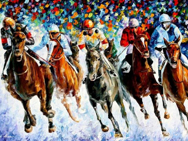 Winter Race on the Snow by Leonid Afremov - A 'Winter Race on the Snow' is a master painting in style of palette knife and oils by Leonid Afremov, skilfully depicting a moment from a contested horse race. <br />