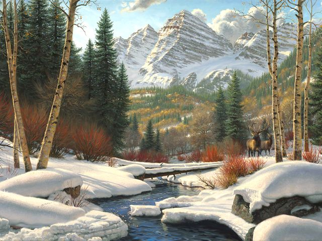 Winter Retreat by Mark Keathley - 'Winter Retreat' by Mark Keathley (born 1963, East Texas) is a beautiful painting depicting a majestic landscape of the Maroon Bells mountain range near Aspen, the sparkling blue waters of Crystal Creek and elk in the deep snow. - , winter, retreat, Mark, Keathley, art, arts, 1963, East, Texas, beautiful, painting, paintings, majestic, landscape, landscapes, Maroon, Bells, mountain, mountains, range, ranges, Aspen, sparkling, blue, waters, water, Crystal, Creek, elk, deep, snow - 'Winter Retreat' by Mark Keathley (born 1963, East Texas) is a beautiful painting depicting a majestic landscape of the Maroon Bells mountain range near Aspen, the sparkling blue waters of Crystal Creek and elk in the deep snow. Solve free online Winter Retreat by Mark Keathley puzzle games or send Winter Retreat by Mark Keathley puzzle game greeting ecards  from puzzles-games.eu.. Winter Retreat by Mark Keathley puzzle, puzzles, puzzles games, puzzles-games.eu, puzzle games, online puzzle games, free puzzle games, free online puzzle games, Winter Retreat by Mark Keathley free puzzle game, Winter Retreat by Mark Keathley online puzzle game, jigsaw puzzles, Winter Retreat by Mark Keathley jigsaw puzzle, jigsaw puzzle games, jigsaw puzzles games, Winter Retreat by Mark Keathley puzzle game ecard, puzzles games ecards, Winter Retreat by Mark Keathley puzzle game greeting ecard