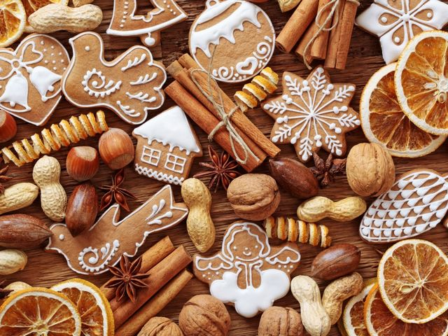 Christmas Cookies Wallpaper - Wallpaper with figurines of classic Christmas gingerbread cookies, aromatic cinnamon sticks, nuts, lemon slices and spices.<br /> Cookies are the best holiday treat of Christmas, whether you're making them for a party, Santa, or just for a cozy night by the fireplace. - , Christmas, cookies, cookie, wallpaper, wallpapers, food, foods, holiday, holidays, figurines, figurine, classic, gingerbread, aromatic, cinnamon, sticks, stick, nuts, nut, lemon, slices, slice, spices, spice, treat, party, Santa, cozy, night, fireplace, fireplaces - Wallpaper with figurines of classic Christmas gingerbread cookies, aromatic cinnamon sticks, nuts, lemon slices and spices.<br /> Cookies are the best holiday treat of Christmas, whether you're making them for a party, Santa, or just for a cozy night by the fireplace. Solve free online Christmas Cookies Wallpaper puzzle games or send Christmas Cookies Wallpaper puzzle game greeting ecards  from puzzles-games.eu.. Christmas Cookies Wallpaper puzzle, puzzles, puzzles games, puzzles-games.eu, puzzle games, online puzzle games, free puzzle games, free online puzzle games, Christmas Cookies Wallpaper free puzzle game, Christmas Cookies Wallpaper online puzzle game, jigsaw puzzles, Christmas Cookies Wallpaper jigsaw puzzle, jigsaw puzzle games, jigsaw puzzles games, Christmas Cookies Wallpaper puzzle game ecard, puzzles games ecards, Christmas Cookies Wallpaper puzzle game greeting ecard