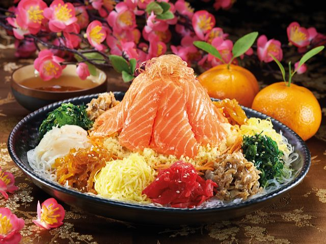 Fortune Salmon Yee Sang by Sakae Sushi - The traditional Fortune Salmon Yee Sang (Yusheng) dish or Prosperity Toss, is a raw fish salad, masterfully prepared by chefs of Sakae Sushi, a chain of restaurants, based in Singapore, serving Japanese cuisine. 'Fortune Salmon' consists of thick slices fresh air-flown salmon, shredded vegetables and variety of authentic Japanese ingredients, such as seasoned jellyfish, mekabu seaweed, scallop, Japanese cucumber, radish, sesame, crunchy crackers and sweet dressing.<br /> Yusheng is considered a symbol of abundance, prosperity and vigor and its consumption is associated with festivities of Chinese New Year in Malaysia, Indonesia and Singapore. - , Fortune, Salmon, Yee, Sang, YeeSang, Sakae, Sushi, food, foods, holidays, holiday, traditional, Yusheng, dish, dishes, Prosperity, Toss, raw, fish, fishes, salad, salads, chefs, chef, chain, chains, restaurants, restaurant, Singapore, Japanese, cuisine, slices, slice, fresh, vegetables, vegetable, authentic, ingredients, ingredient, jellyfish, jellyfishes, mekabu, seaweed, scallop, cucumber, radish, sesame, crunchy, crackers, sweet, dressing, symbol, symbols, abundance, vigor, festivities, festivity, Chinese, New, Year, Malaysia, Indonesia - The traditional Fortune Salmon Yee Sang (Yusheng) dish or Prosperity Toss, is a raw fish salad, masterfully prepared by chefs of Sakae Sushi, a chain of restaurants, based in Singapore, serving Japanese cuisine. 'Fortune Salmon' consists of thick slices fresh air-flown salmon, shredded vegetables and variety of authentic Japanese ingredients, such as seasoned jellyfish, mekabu seaweed, scallop, Japanese cucumber, radish, sesame, crunchy crackers and sweet dressing.<br /> Yusheng is considered a symbol of abundance, prosperity and vigor and its consumption is associated with festivities of Chinese New Year in Malaysia, Indonesia and Singapore. Solve free online Fortune Salmon Yee Sang by Sakae Sushi puzzle games or send Fortune Salmon Yee Sang by Sakae Sushi puzzle game greeting ecards  from puzzles-games.eu.. Fortune Salmon Yee Sang by Sakae Sushi puzzle, puzzles, puzzles games, puzzles-games.eu, puzzle games, online puzzle games, free puzzle games, free online puzzle games, Fortune Salmon Yee Sang by Sakae Sushi free puzzle game, Fortune Salmon Yee Sang by Sakae Sushi online puzzle game, jigsaw puzzles, Fortune Salmon Yee Sang by Sakae Sushi jigsaw puzzle, jigsaw puzzle games, jigsaw puzzles games, Fortune Salmon Yee Sang by Sakae Sushi puzzle game ecard, puzzles games ecards, Fortune Salmon Yee Sang by Sakae Sushi puzzle game greeting ecard