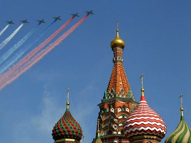 Victory Day in Moscow Su-25 Frogfoot - Su-25 Frogfoot military jets fly over the St. Basill's Cathedral marking the Russian National flag during the Victory Day parade in Moscow (May 9, 2010). - , Victory, Day, Moscow, Su-25, Frogfoot, show, shows, places, place, military, jet, jets, St., Basill's, Cathedral, cathedrals, Russian, national, flag, flags, parade, parades, May, 2010 - Su-25 Frogfoot military jets fly over the St. Basill's Cathedral marking the Russian National flag during the Victory Day parade in Moscow (May 9, 2010). Solve free online Victory Day in Moscow Su-25 Frogfoot puzzle games or send Victory Day in Moscow Su-25 Frogfoot puzzle game greeting ecards  from puzzles-games.eu.. Victory Day in Moscow Su-25 Frogfoot puzzle, puzzles, puzzles games, puzzles-games.eu, puzzle games, online puzzle games, free puzzle games, free online puzzle games, Victory Day in Moscow Su-25 Frogfoot free puzzle game, Victory Day in Moscow Su-25 Frogfoot online puzzle game, jigsaw puzzles, Victory Day in Moscow Su-25 Frogfoot jigsaw puzzle, jigsaw puzzle games, jigsaw puzzles games, Victory Day in Moscow Su-25 Frogfoot puzzle game ecard, puzzles games ecards, Victory Day in Moscow Su-25 Frogfoot puzzle game greeting ecard