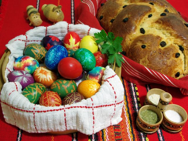 Bulgarian Easter Eggs and Kozunak - Easter traditions in Bulgaria are a variation of the Eastern Orthodox Church rituals. Easter is one of the most significant holidays in the Bulgarian calendar, starting with Palm Sunday and marks the end of the Lent. Easter is a Christian holiday commemorating the resurrection of Jesus Christ from the dead three days after his crucifixion on Good Friday.<br /> Symbol of the Resurrection is the egg. According to Bulgarian Easter traditions, the eggs are dyed on Holy Thursday, early in the morning. The first egg must be dyed in red color, which symbolize the blood of Christ and is put in front of the household icon, to protect the house. The oldest woman in the house touches the children's faces with it in order to ensure future health, luck, happiness and prosperity. Again on Holy Thursday is made the traditional Bulgarian Easter bread, known as 'kozunak', a sweet and soft bread with raisins, almonds and chocolate. - , Bulgarian, Easter, eggs, egg, kozunak, holidays, holiday, traditions, tradition, Bulgaria, variation, Orthodox, Church, rituals, ritual, significant, calendar, Palm, Sunday, Lent, Christian, resurrection, Jesus, Christ, days, crucifixion, Good, Friday, Holy, Thursday, morning, red, color, blood, household, icon, icons, house, oldest, woman, children, faces, face, future, health, luck, happiness, prosperity, traditional, bread, sweet, soft, raisins, almonds, chocolate - Easter traditions in Bulgaria are a variation of the Eastern Orthodox Church rituals. Easter is one of the most significant holidays in the Bulgarian calendar, starting with Palm Sunday and marks the end of the Lent. Easter is a Christian holiday commemorating the resurrection of Jesus Christ from the dead three days after his crucifixion on Good Friday.<br /> Symbol of the Resurrection is the egg. According to Bulgarian Easter traditions, the eggs are dyed on Holy Thursday, early in the morning. The first egg must be dyed in red color, which symbolize the blood of Christ and is put in front of the household icon, to protect the house. The oldest woman in the house touches the children's faces with it in order to ensure future health, luck, happiness and prosperity. Again on Holy Thursday is made the traditional Bulgarian Easter bread, known as 'kozunak', a sweet and soft bread with raisins, almonds and chocolate. Solve free online Bulgarian Easter Eggs and Kozunak puzzle games or send Bulgarian Easter Eggs and Kozunak puzzle game greeting ecards  from puzzles-games.eu.. Bulgarian Easter Eggs and Kozunak puzzle, puzzles, puzzles games, puzzles-games.eu, puzzle games, online puzzle games, free puzzle games, free online puzzle games, Bulgarian Easter Eggs and Kozunak free puzzle game, Bulgarian Easter Eggs and Kozunak online puzzle game, jigsaw puzzles, Bulgarian Easter Eggs and Kozunak jigsaw puzzle, jigsaw puzzle games, jigsaw puzzles games, Bulgarian Easter Eggs and Kozunak puzzle game ecard, puzzles games ecards, Bulgarian Easter Eggs and Kozunak puzzle game greeting ecard