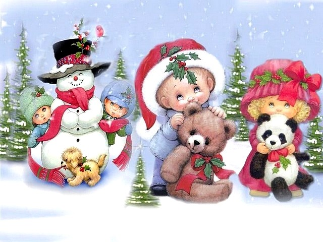 Christmas Card Children play Happy - Puzzles-Games.eu - puzzles games