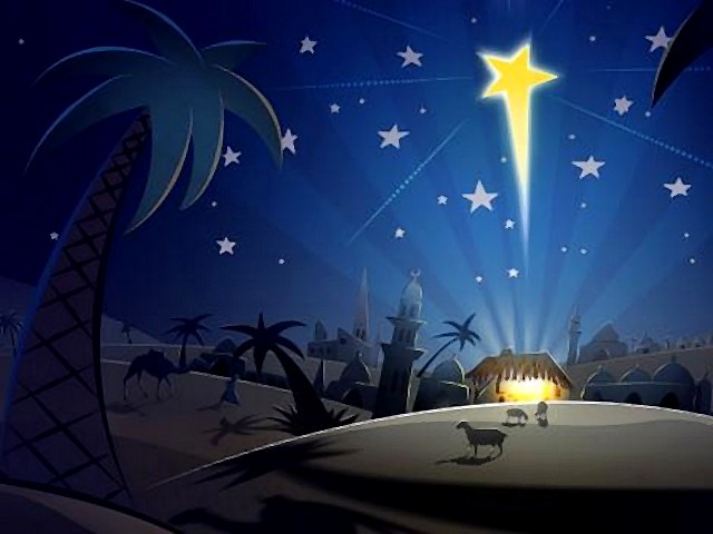 christmas card jesus christ star christmas card with a dreamy nightly landscape and a star - Jesus Christmas Cards