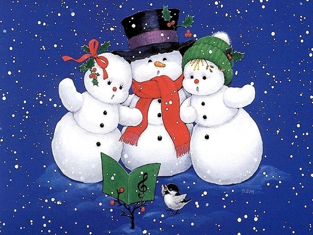 Christmas Card singing Snowmen - Puzzles-Games.eu - puzzles games