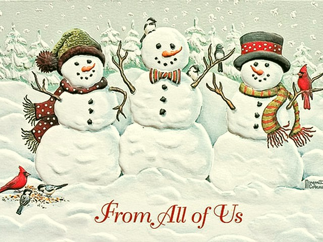 Christmas Card with Holiday Wishes - Christmas card with smiling snowmen with Holiday Wishes 'From All of Us'. - , Christmas, card, cards, Holiday, Wishes, wish, holidays, holiday, festival, festivals, celebrations, celebration, Christianity, Jesus, Christ, birthday, birthdays, nativity, adoration, smiling, snowmen, snowman - Christmas card with smiling snowmen with Holiday Wishes 'From All of Us'. Solve free online Christmas Card with Holiday Wishes puzzle games or send Christmas Card with Holiday Wishes puzzle game greeting ecards  from puzzles-games.eu.. Christmas Card with Holiday Wishes puzzle, puzzles, puzzles games, puzzles-games.eu, puzzle games, online puzzle games, free puzzle games, free online puzzle games, Christmas Card with Holiday Wishes free puzzle game, Christmas Card with Holiday Wishes online puzzle game, jigsaw puzzles, Christmas Card with Holiday Wishes jigsaw puzzle, jigsaw puzzle games, jigsaw puzzles games, Christmas Card with Holiday Wishes puzzle game ecard, puzzles games ecards, Christmas Card with Holiday Wishes puzzle game greeting ecard