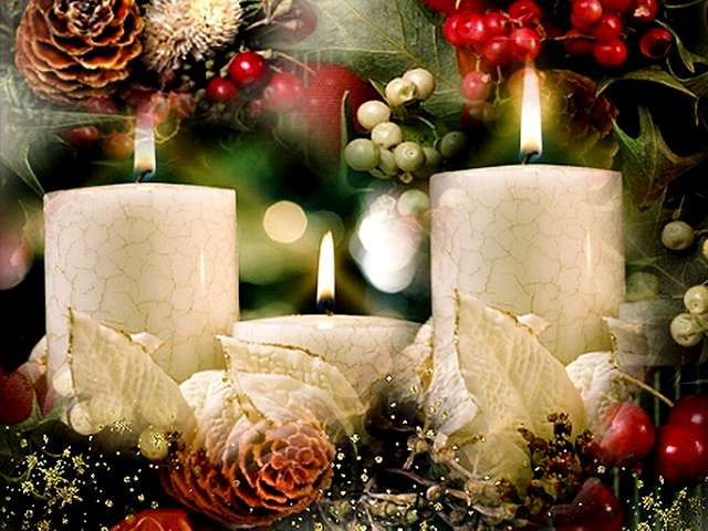 Christmas White Candles Wallpaper