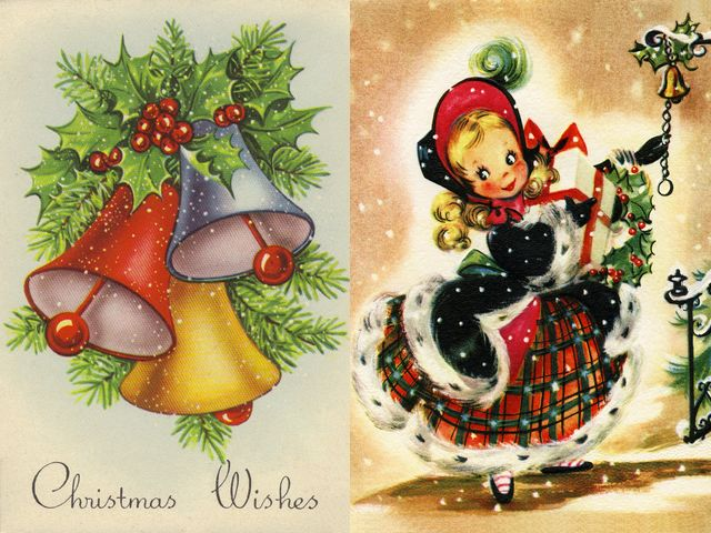 Christmas Wishes Vintage Postcard - Beautiful vintage postcard depicting Christmas bells and an adorable girl with festive wishes
