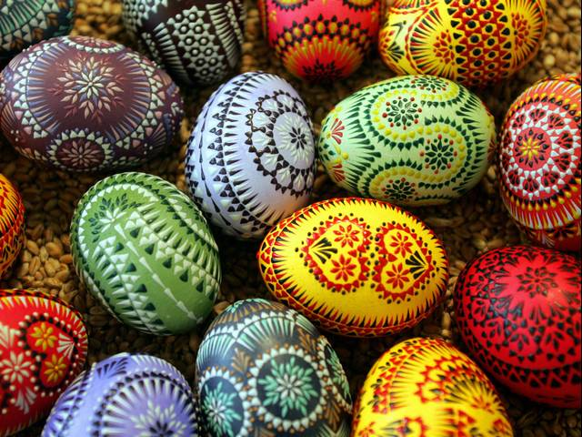Easter Eggs in Sorbian Style - Easter eggs, adorned in traditional 'Sorbian style' at the annual Sorbian Easter Egg Market in Bautzen, eastern Germany, which is taking place always five weeks before Easter. The painting of Easter eggs, called Pisanici, is Slavic tradition since 17th century maintained by Sorbs, living as minority in Lusatia, a region on the territory of Germany and Poland. <br /> Many Slavic ethnic groups, including the Belarusians, Bulgarians, Croats, Czechs, Poles, Serbs, Slovaks, Slovenes, Sorbs and Ukrainians decorate Easter eggs by writing. The pattern is applied to the shell of an egg by help of hot wax, similarly to batik, and placed in a series of dye baths. The colors and pattern are revealed when the wax is melted. - , Easter, eggs, egg, Sorbian, style, styles, holidays, holiday, traditional, annual, market, markets, Bautzen, eastern, Germany, place, weeks, week, Pisanici, Slavic, tradition, traditions, 17th, century, centuries, Sorbs, minority, minorities, Lusatia, region, regions, territory, territories, Poland, ethnic, groups, group, Belarusians, Bulgarians, Croats, Czechs, Poles, Serbs, Slovaks, Slovenes, Sorbs, Ukrainians, pattern, patterns, shell, shells, hot, wax, batik, series, dye, baths, bath, colors, color - Easter eggs, adorned in traditional 'Sorbian style' at the annual Sorbian Easter Egg Market in Bautzen, eastern Germany, which is taking place always five weeks before Easter. The painting of Easter eggs, called Pisanici, is Slavic tradition since 17th century maintained by Sorbs, living as minority in Lusatia, a region on the territory of Germany and Poland. <br /> Many Slavic ethnic groups, including the Belarusians, Bulgarians, Croats, Czechs, Poles, Serbs, Slovaks, Slovenes, Sorbs and Ukrainians decorate Easter eggs by writing. The pattern is applied to the shell of an egg by help of hot wax, similarly to batik, and placed in a series of dye baths. The colors and pattern are revealed when the wax is melted. Solve free online Easter Eggs in Sorbian Style puzzle games or send Easter Eggs in Sorbian Style puzzle game greeting ecards  from puzzles-games.eu.. Easter Eggs in Sorbian Style puzzle, puzzles, puzzles games, puzzles-games.eu, puzzle games, online puzzle games, free puzzle games, free online puzzle games, Easter Eggs in Sorbian Style free puzzle game, Easter Eggs in Sorbian Style online puzzle game, jigsaw puzzles, Easter Eggs in Sorbian Style jigsaw puzzle, jigsaw puzzle games, jigsaw puzzles games, Easter Eggs in Sorbian Style puzzle game ecard, puzzles games ecards, Easter Eggs in Sorbian Style puzzle game greeting ecard