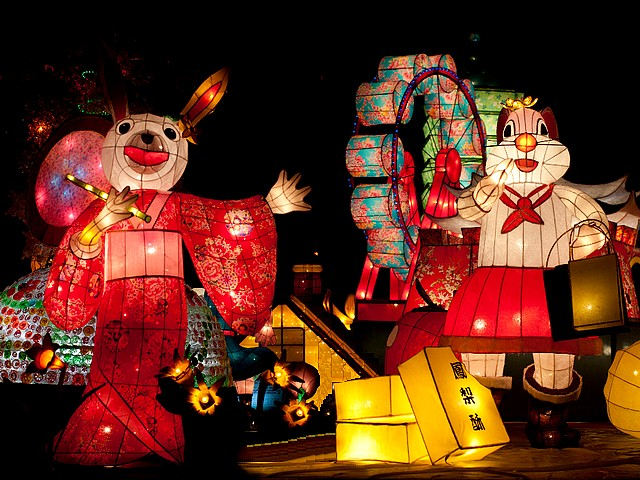 Lantern Festival Japanese Rabbit in Taipei Taiwan - Lanterns in shape of rabbits, one of them is depicted with kimono as a Japanese rabbit, during the Lantern Festival in Taipei, Taiwan (Feb 14, 2011). - , lantern, lanterns, festival, festivals, Japanese, rabbit, rabbits, Taipei, Taiwan, holidays, holiday, show, shows, celebrations, celebration, places, place, travel, travels, tour, tours, trips, trip, excursion, excursions, shape, shapes, kimono, kimonos, 2011 - Lanterns in shape of rabbits, one of them is depicted with kimono as a Japanese rabbit, during the Lantern Festival in Taipei, Taiwan (Feb 14, 2011). Solve free online Lantern Festival Japanese Rabbit in Taipei Taiwan puzzle games or send Lantern Festival Japanese Rabbit in Taipei Taiwan puzzle game greeting ecards  from puzzles-games.eu.. Lantern Festival Japanese Rabbit in Taipei Taiwan puzzle, puzzles, puzzles games, puzzles-games.eu, puzzle games, online puzzle games, free puzzle games, free online puzzle games, Lantern Festival Japanese Rabbit in Taipei Taiwan free puzzle game, Lantern Festival Japanese Rabbit in Taipei Taiwan online puzzle game, jigsaw puzzles, Lantern Festival Japanese Rabbit in Taipei Taiwan jigsaw puzzle, jigsaw puzzle games, jigsaw puzzles games, Lantern Festival Japanese Rabbit in Taipei Taiwan puzzle game ecard, puzzles games ecards, Lantern Festival Japanese Rabbit in Taipei Taiwan puzzle game greeting ecard