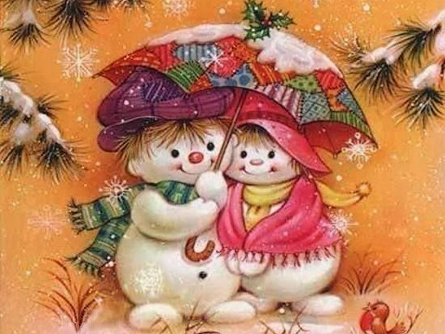 Merry Christmas - Charming little snowmen wish you a