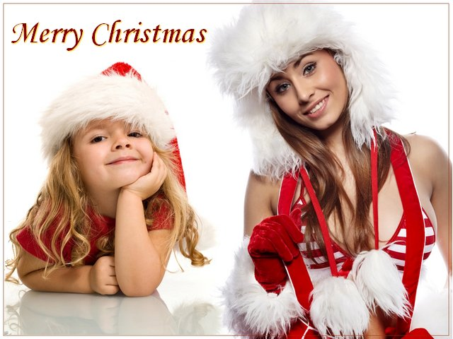 Mery Christmas with Beautiful Girls Wallpaper - Puzzles-Games.eu ...