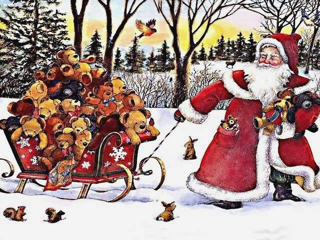 Santa Claus Sled with Teddy Bears - Greeting card with Santa Claus who pulls a sled in the snow, loaded up with many teddy bears for Christmas gifts. - , Santa, Claus, sled, sleds, teddy, bears, bear, holidays, holiday, festival, festivals, celebrations, celebration, greeting, greetings, card, cards, snow, Christmas, gifts, gift - Greeting card with Santa Claus who pulls a sled in the snow, loaded up with many teddy bears for Christmas gifts. Solve free online Santa Claus Sled with Teddy Bears puzzle games or send Santa Claus Sled with Teddy Bears puzzle game greeting ecards  from puzzles-games.eu.. Santa Claus Sled with Teddy Bears puzzle, puzzles, puzzles games, puzzles-games.eu, puzzle games, online puzzle games, free puzzle games, free online puzzle games, Santa Claus Sled with Teddy Bears free puzzle game, Santa Claus Sled with Teddy Bears online puzzle game, jigsaw puzzles, Santa Claus Sled with Teddy Bears jigsaw puzzle, jigsaw puzzle games, jigsaw puzzles games, Santa Claus Sled with Teddy Bears puzzle game ecard, puzzles games ecards, Santa Claus Sled with Teddy Bears puzzle game greeting ecard