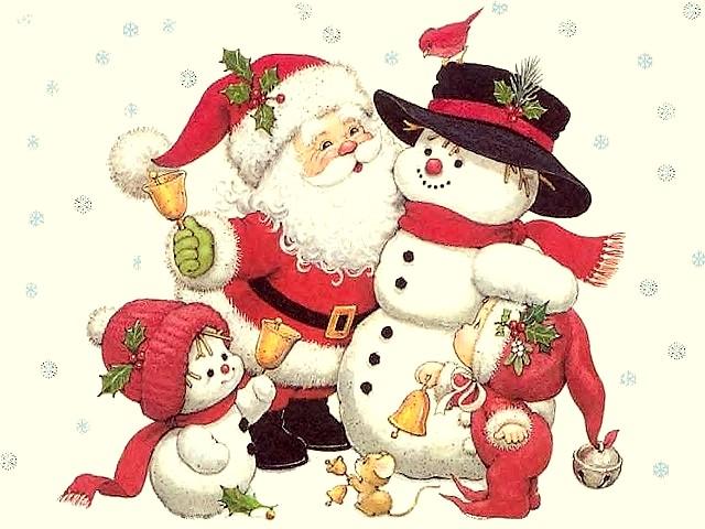 Claus Snowman Santa Claus Snowman And Dwarfs