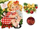 Christmas Girl with Doll Greeting Card