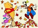 Disney Autumn Piglet sweeps Leaves Wallpaper