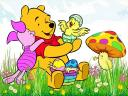 Disney Easter Piglet Winnie the Pooh and Chicken Wallpaper