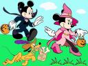 Disney Halloween Mickey and Minnie Mouse with Pluto Wallpaper