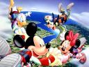 Disney Summer Mickey and Minnie Mouse with Friends Parachutists Wallpaper