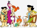 Flintstones Fred and Barney with Families Wallpaper