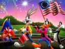 Looney Tunes Bugs Bunny and Friends on 4th of July Parade Wallpaper