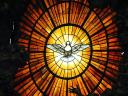 Alabaster Window with Dove in Cathedra Petri Basilica Saint Peter Vatican Rome Italy Close-up