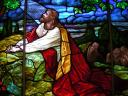 Christ praying in Gethsemane Garden Stained Glass Window Glenwood Lutheran Church Minnesota